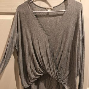 Silence + Noise Gray Swoop Neck Blouse